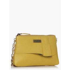 3 Mad Chicks Pleats Please Yellow PU Sling Bag