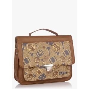 3 Mad Chicks Key & Luggage Print Brown Sling Bag