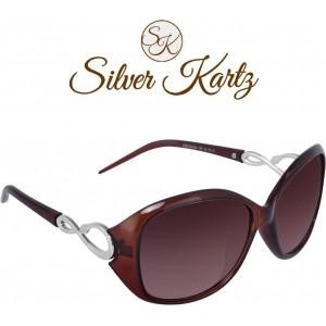 Silver Kartz Brown Oval-Snake Wayfarer Sunglass