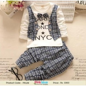 Unique Boy's Bow tie T shirt With Waistcoat & Pant Set
