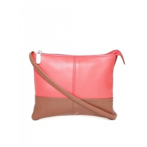 DressBerry Pink & Brown Colourblocked Sling Bag