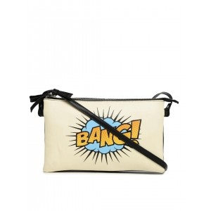 DressBerry Off-White Graphic Printed Sling Bag