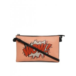 DressBerry Peach-Coloured Graphic Printed Sling Bag