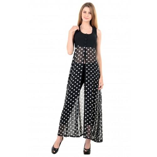 Raabta Fashion Fit and Flare Black Georgette Dress