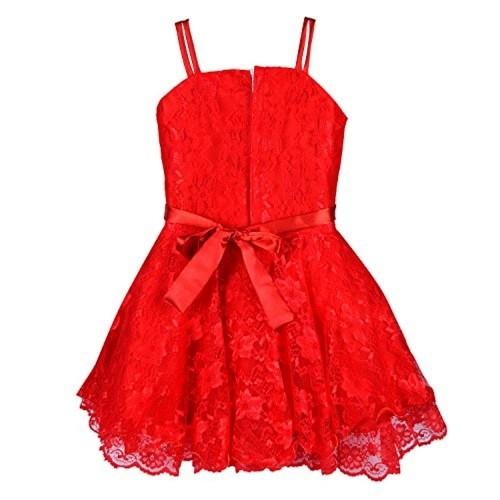 Wish Karo Red Net Girl's Frock