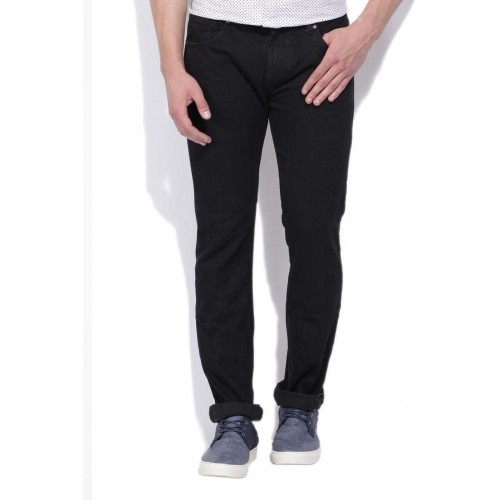 Ruf & Tuf Black Cotton Solid Slim Fit Men's Jeans