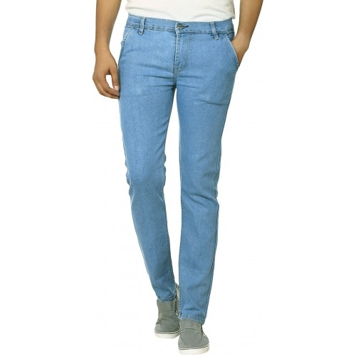 Ben Carter Blue Lycra Solid Slim Fit Jeans