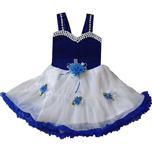 Cute Fashion White & Blue Velvet Frock Dress
