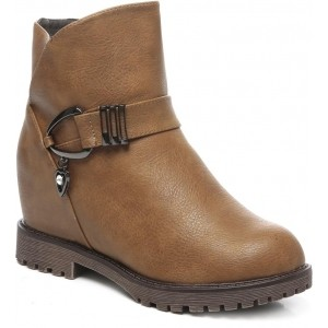 Ten Brown Synthetic Leather High Ankle Boots