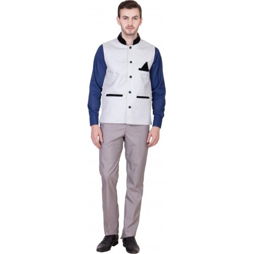 Akaas White Jute Sleeveless Solid Jacket