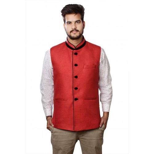 Veera Paridhaan Red Jute Cotton Sleeveless Solid Nehru Jacket