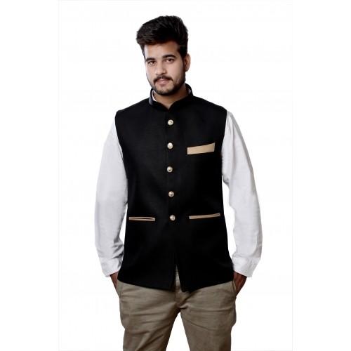 Veera Paridhaan Black Jute COoton Sleeveless Solid Nehru Jacket