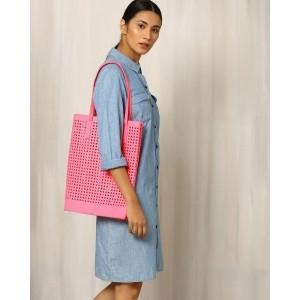 INDIE PICKS Pink Felt Cutwork Beach Tote Bag