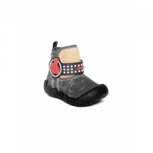 Kittens Boys Black Printed Boots