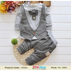 Trendy Black & Gray Printed Formal Suit