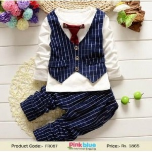 Trendy Navy Blue Printed Suit For Boy
