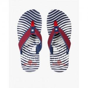 Woodland Navy Blue & White Fabric Striped Flip-Flops