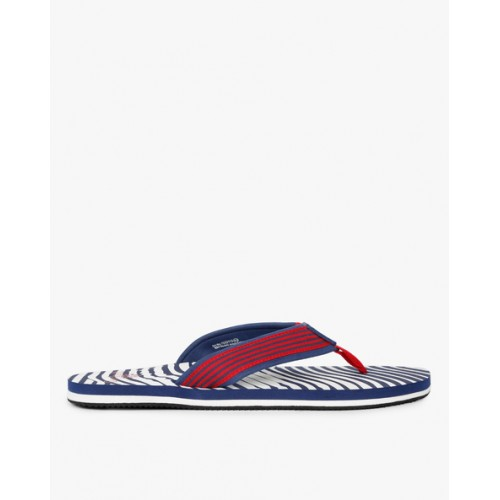 Woodland Navy Blue & White Fabric Striped Flip-Flops