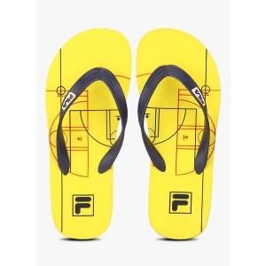 Fila Yellow Rubber Printed Game Flip Flops