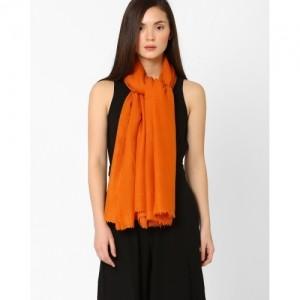 Sunny's Orange Solid Wool Shawl with Tassel Trim