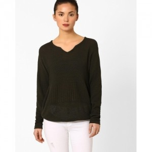 Ajio Black Solid Notch Neck Pullovers For Women