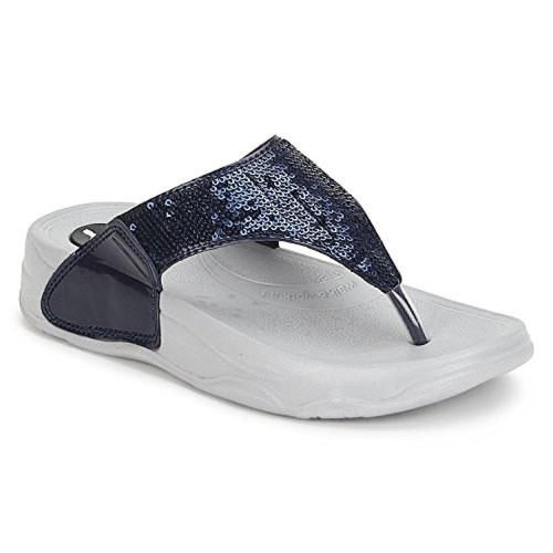a14998e404c40 Buy Welcome Navy Blue Synthetic Flip Flops For Women online ...