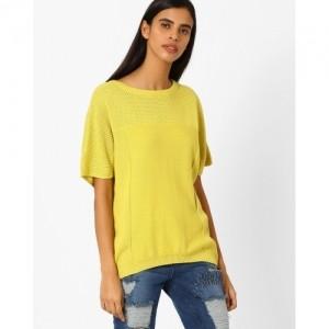 AJIO Yellow Ribbed Cotton Pullover