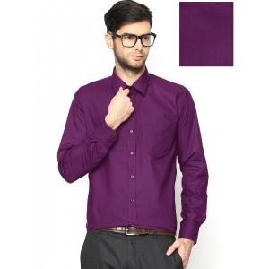 Hancock Purple Cotton & Polyester Slim Fit Formal Shirt