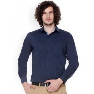 Hancock Navy Blue Cotton Slim Fit Formal Shirt