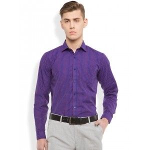 Mark Taylor Blue & Red Cotton Slim Fit Checked Formal Shirt