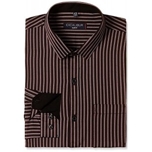 Excalibur Coffee Striped Printed Formal Shirt