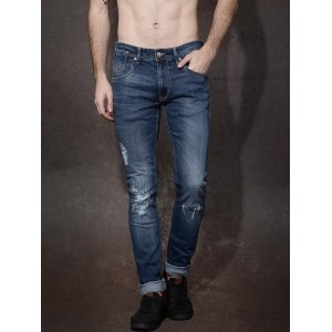 Roadster Blue Skinny Fit Mid-Rise Mildly Distressed Jeans