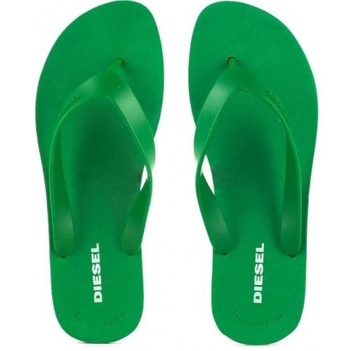 Diesel Green Slip-On Flats Flip Flops