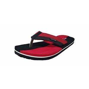 Bata Red &Black Synthetic Slip-On Flats Flip Flops