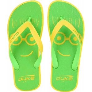 Duke Parroy Green & Yellow Rubber Slip-On Flip Flop
