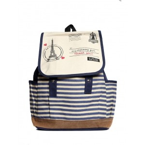 Raeen Plus Beige And Navy Blue Striped Canvas Backpack