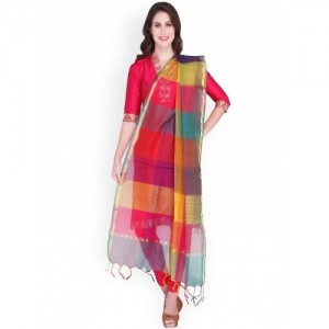 Dupatta Bazaar Multicoloured Silk Striped Dupatta