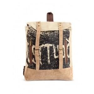 Baggabond Beige Printed Canvas Backpack