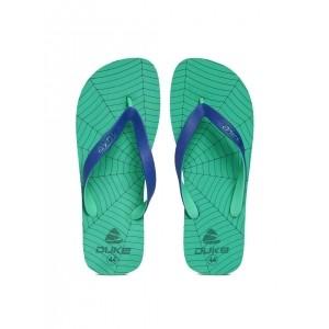 Duke Men Blue & Mint Synthetic Slip-On Printed Flip-Flops