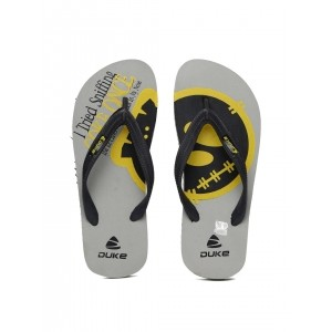 Duke Black & Grey Synthetic Slip-On Printed Flip-Flops