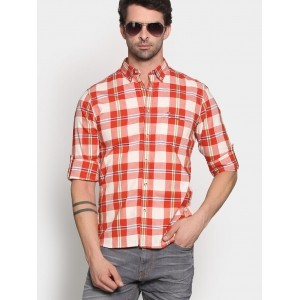 Pete by Peter England White & Red Checked Printed Casual Shirt