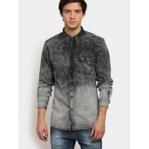 Abof Gray Washed Denim Casual Shirt