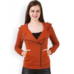 Texco Rust Orange Cotton Hooded Bomber Jacket