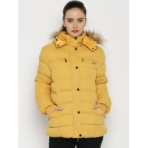 HARVARD Yellow Polyester Quilted Jacket With Detachable Hood