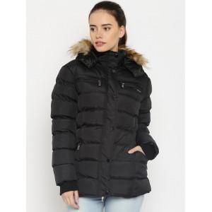HARVARD Black Polyester Puffer Jacket with Detachable Hood