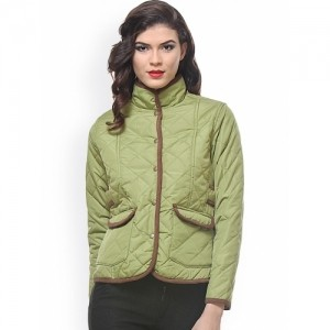 PURYS Green Solid Polyester Quilted Jacket