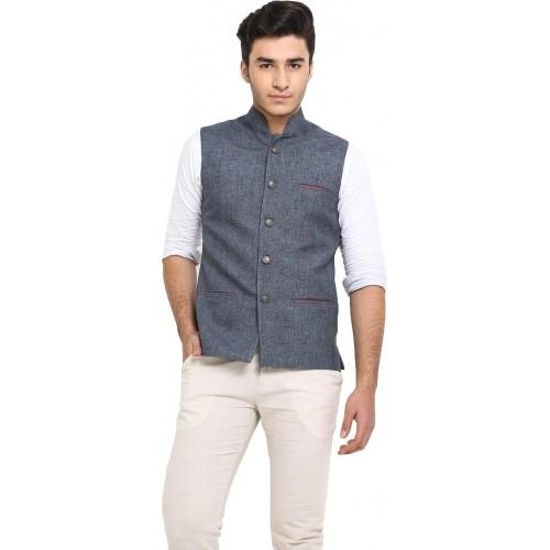 Protext Gray Jute Sleeveless Solid Nehru Jacket