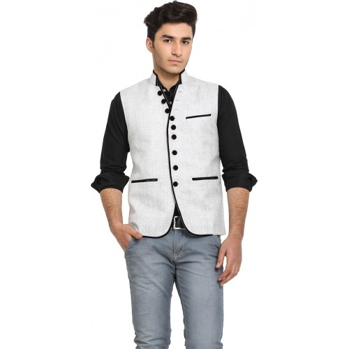 Protext Gray Sleeveless Jute Solid Men's Modi Jacket