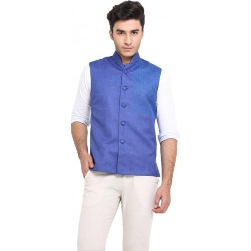 Protext Blue Sleeveless Jute Solid Men's Modi Jacket