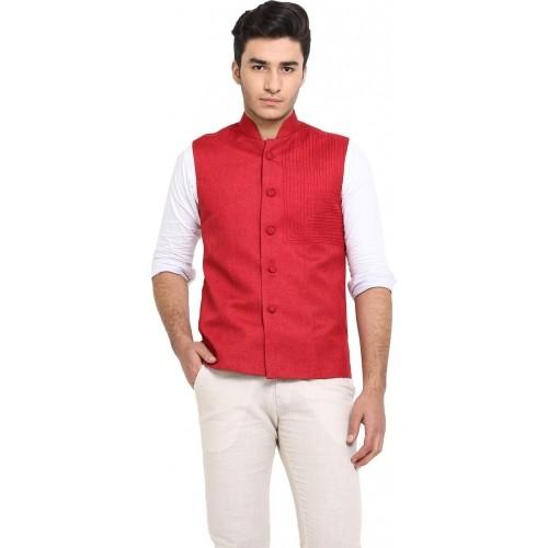 Protext Red Jute Sleeveless Solid Nehru Jacket